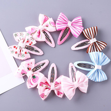 Sale 1Pair New Pink Ribbon Butterfly Bow Kids Hairpins Children Stripes Girls Hair Clips Newborn Accessories