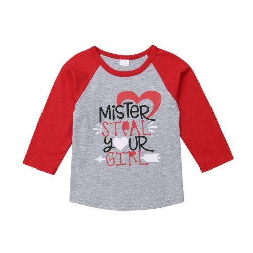 Camiseta de manga larga con letras para bebés y niños recién nacidos