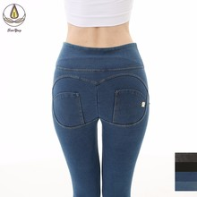 New Gym Leggings Sport Women Fitness Yoga Denim Pants High Waist Workout Leggings Scrunch Butt Lift Sports Wear Hips Up Trousers цены
