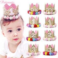 PATIMATE 1er cumpleaños decoración fiesta niños 1 año cumpleaños corona sombrero suministros fiesta 2nd niño niña bebé baño Bautismo