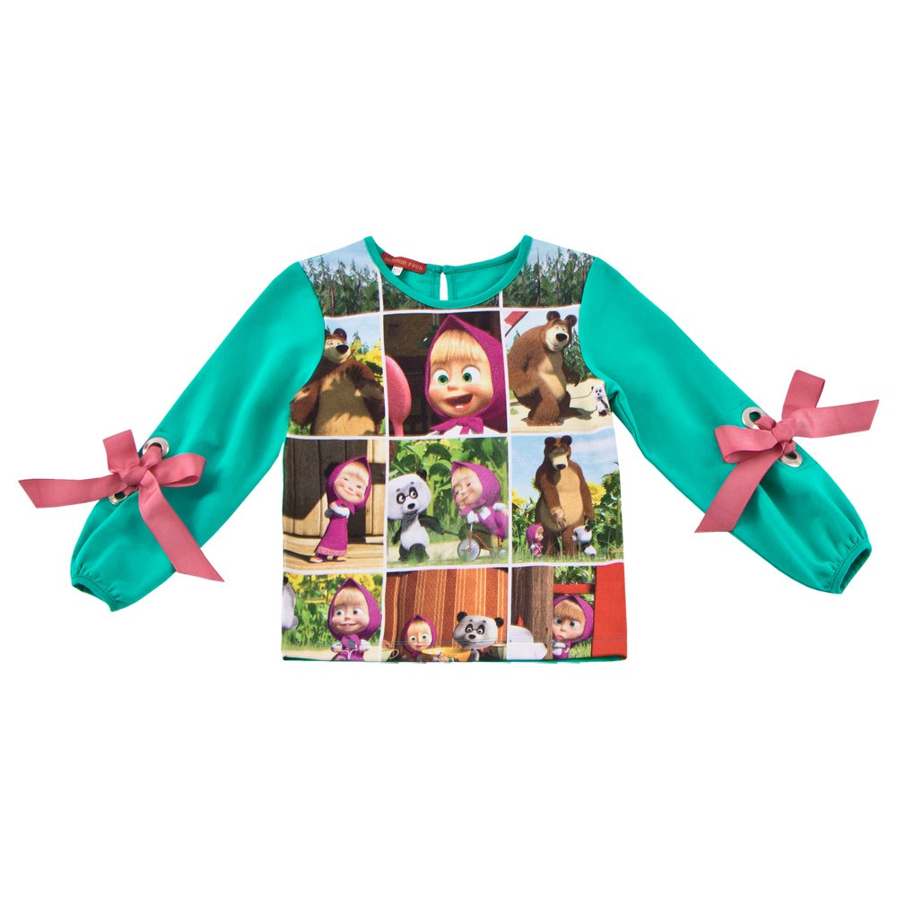 Фото - Masha and Bear Blouse the. Menthol kids clothes children clothing contrast lace keyhole back blouse