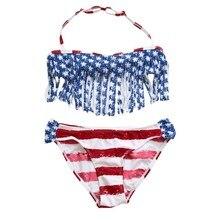 7-14T Little Girl Kids Swimsuits Striped Star Tassel  Swimwear American Flag Bikini Set Children Beachwear Outfits Swimming Suit kids striped and star flag print vest dress