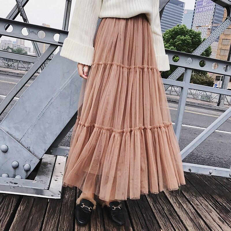 Autumn Women Elegant Black Mesh Tulle Pleated Panelled Long Skirt Sweet Girl Tutu Skirt Pink Khaki Elastic High Waist Maxi Skirt|Skirts| - AliExpress