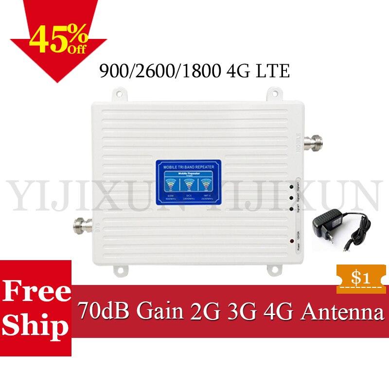 2G 3G 4G 900 1800 2600 Tri-Bande Signal Booster GSM DCS LTE FDD LTE 2600 4G Mobile Signal Répéteur Cellulaire Téléphone Cellulaire Amplificateur