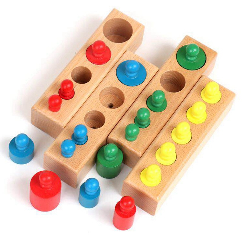 Home Sized Wooden Knobbed Cylinders Socket Family Pack Early Learning Education Toy 4Pcs/Set