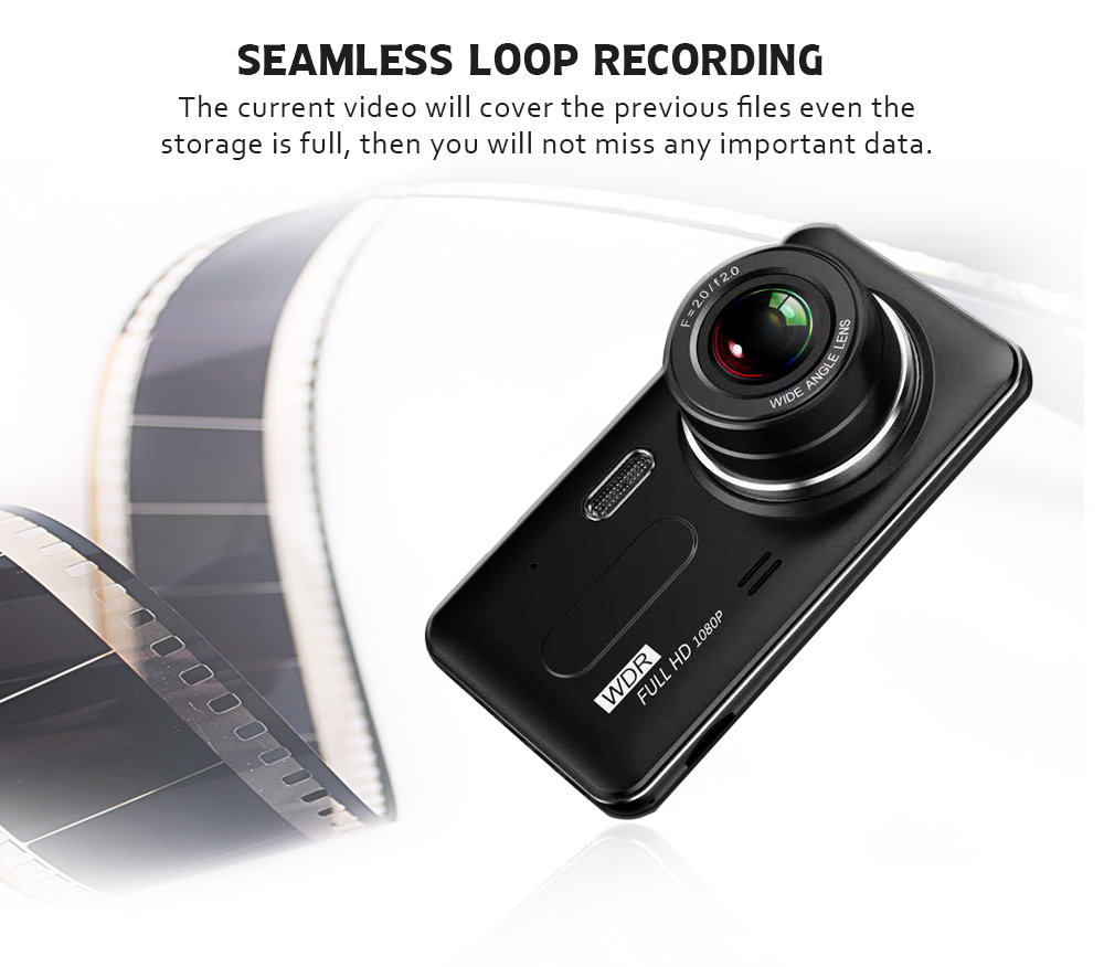 Image 3 - Car Dvr Camera 4.0 Inch Screen Full HD 1080P Dual Lens with Rear View Dashcam Auto Registrar Car Video Recorder DVRs Camcorder-in DVR/Dash Camera from Automobiles & Motorcycles