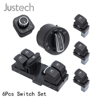 Justech 6Pcs Switch Set 5ND959857 For VW Golf Jetta Chrome Headlight Euro+Side Mirror+Passenger Side,Master Panel Window Switch
