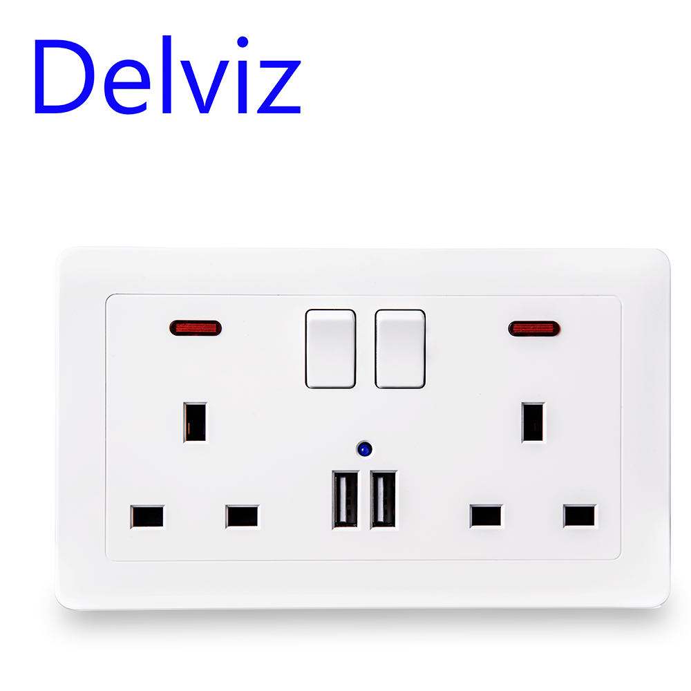 Delviz Wall Power Socket +USB  Hole,UK Standard 13A Outlet, 5V2.1A Dual USB Charger Port, LED Indicator,146mm*86mm,On-off Contro