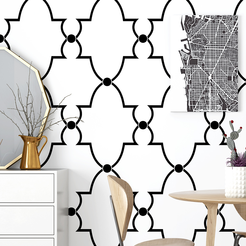 Style Nordic Wallpaper Ins Tv Background Black And White Lattice Geometry Bedroom Living Room Modern Simple Chinese Wallpaper