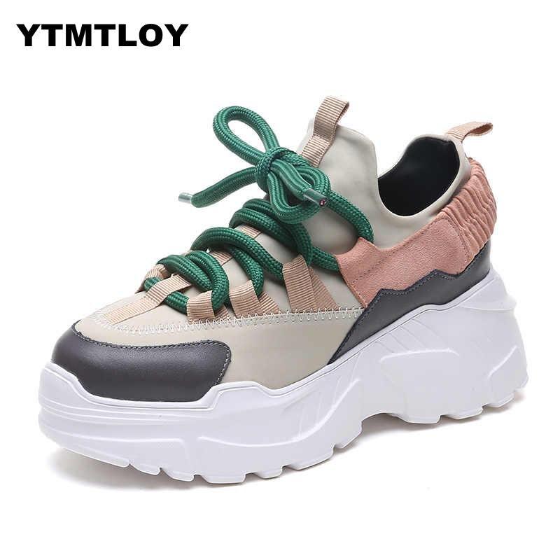 2019 Printemps Automne Femmes chaussures décontractées Confortable Plate-Forme Femme Sneakers Dames Formateurs Chaussure Femme Tenis Feminino 8 CM