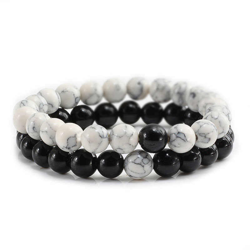 Hot 2Pcs/Set Couples Bracelet Classic Natural Stone White and Black Yin Yang Beaded Bracelets for Men Women Best Friend
