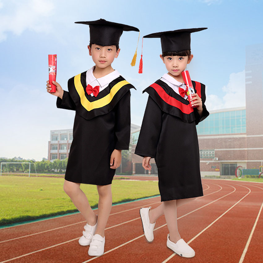 Children Bachelor Gown Uniform Class Team Wear Student Performance Dresses Boys Formal Graduation Outfit School Girl Costume