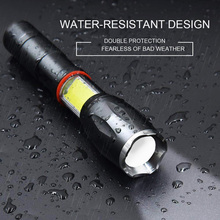 Led 8000 Lumens T6 Handheld Tactical Flashlight Cob Lantern Magnetic 6 Modes Water Resistant For Telescopic Focusing Work Light