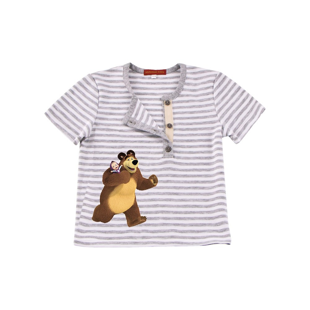 Фото - Masha and Bear Shirt T-shirt with strap strip M kids clothes children clothing striped knotted front cuffed shirt with chest pocket