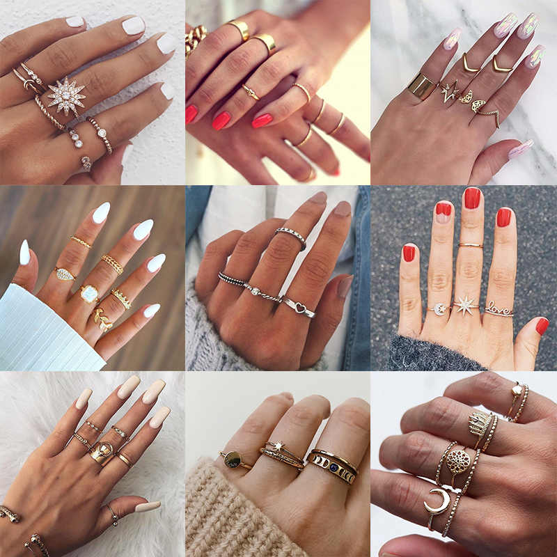 New Design Fashion Golden Knuckle Rings Set For Women Vintage Charm Boho Finger Ring Female Summer Party Jewelry Drop Shipping