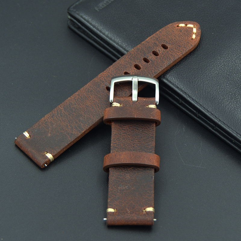 new design High quality handmade retro 18 19 21 20 22mm Men Handmade  Retro Genuine Leather Strap band watchband for Seiko Omega