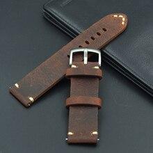 new design High quality handmade retro 18 19 21 20 22mm Men Handmade  Retro Genuine Leather Strap band watchband for Seiko Omega все цены