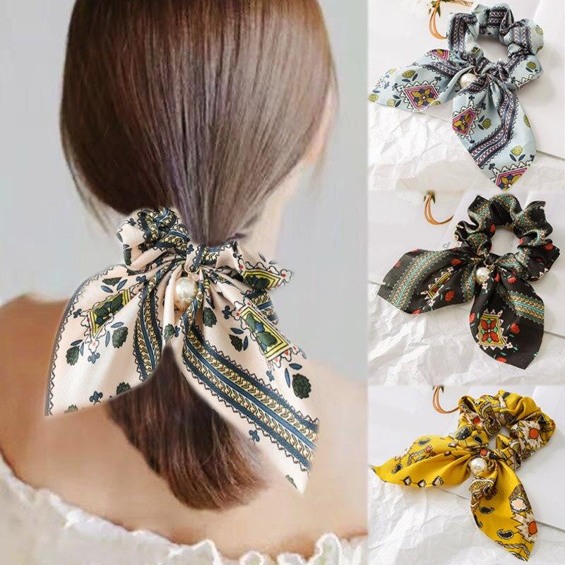 Fashion Flower Print Chiffon Scrunchie Elastic Hair Band Bow Hair Ropes Ladies Head Band Girls Hair Ties Women Hair Accessories