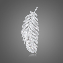 Glittering Leaves cubic zirconia crystal microcapsules cz zircon stone flower brooch for women X00254