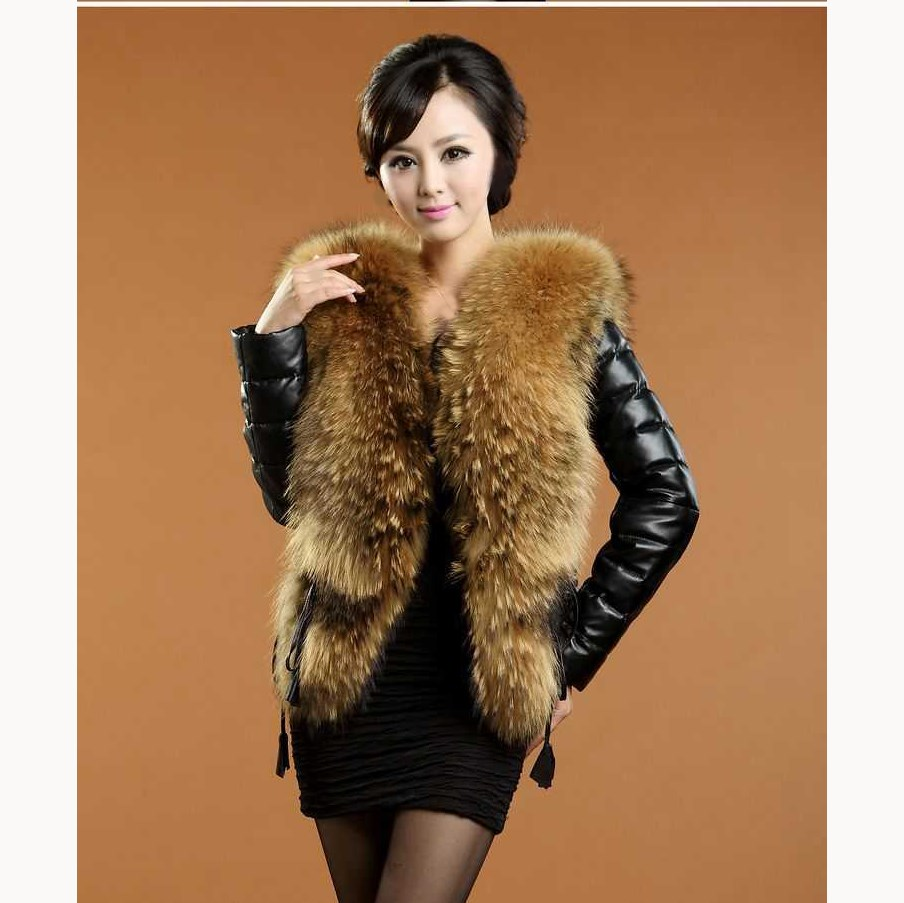 Winter Women Faux   Leather   Jacket Long Sleeve Slim Overcoat Pu   Leather   Coat Adjustable Waist Thick Warm Fur Collar Coat