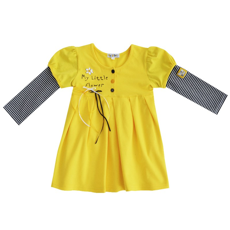 Dress-Baby's loose jacket yellow with sleeves striped kids clothes children clothing beige floral lace stitching round neck short sleeves chiffon mini dress