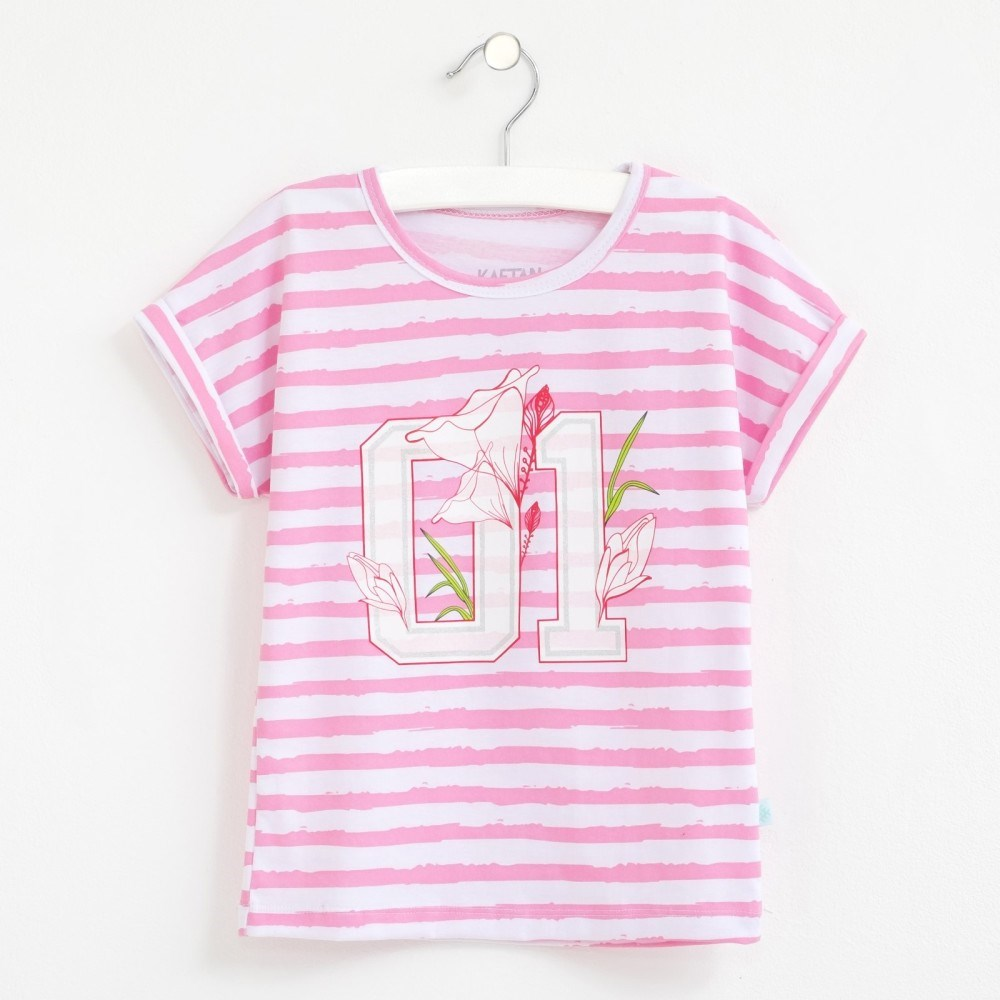 T Shirt 01 stripe 3 6g. 100% cotton multi stripe t shirt
