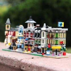 도시 미니 스트리트 스토어 시리즈 크리에이터 카페 코너 타운 파이어 여단 샵 모델 빌딩 블록 아이 생일 선물 legoingly