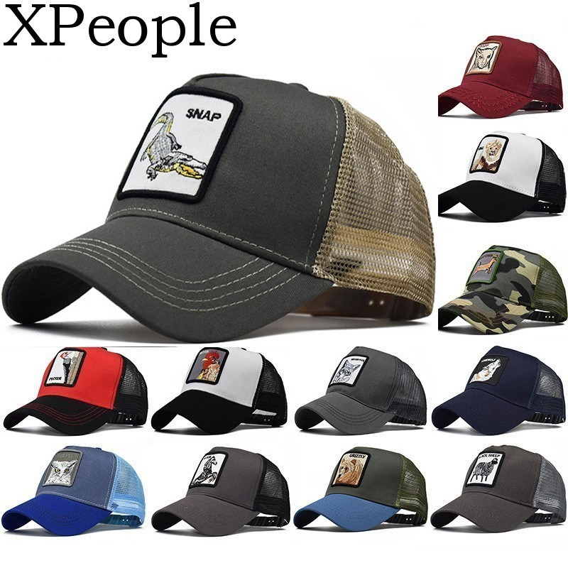 XPeople Women Adjustable Mesh   Baseball     Cap   Animal Embroidered Snap Hat Men's Animal Farm Snap Back Trucker Hat Dropshipping