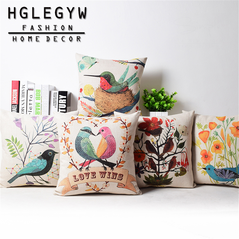 Nordic Style Fall In Love Bird Cushion Cover 45*45 Cm Throw Pillowcase Printed Pillow Covers Decoration For Home Sofa Chair