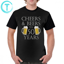 Beer T Shirt Cheers And Beers To 50 Years Quote - 50th Birthday Gift T-Shirt Cute Short-Sleeve Graphic Tee Polyester Tshirt