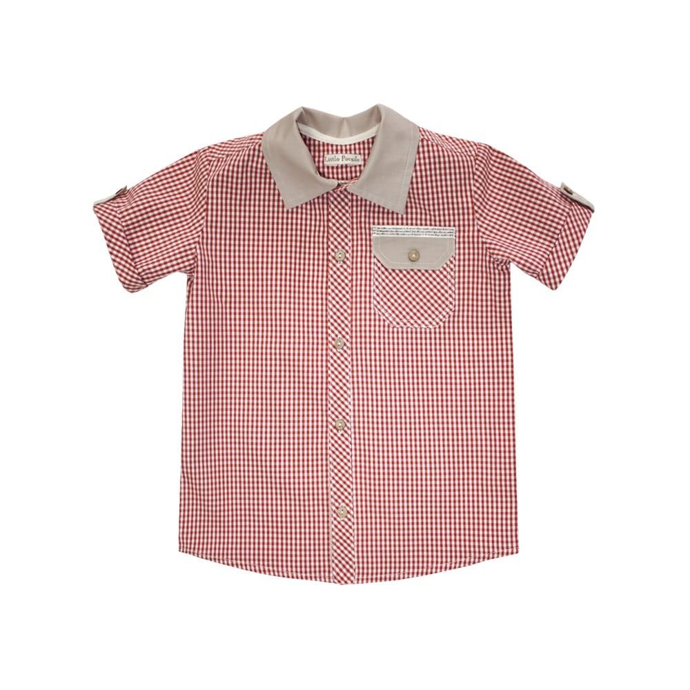 Plaid shirt Bordeaux long sleeve edging plaid shirt