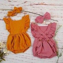 Гофрированные комбинезоны для маленьких девочек, летняя одежда из органического хлопка, 3, 6, 12 месяцев, комплект с бантом для волос для новорожденных, двойной костюм из газовой ткани для фото