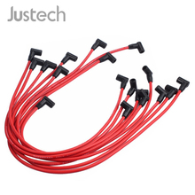 цена на Justech 9 Pcs Spark Plug Wire D030-PW-SBC350 Heat Resistant And Abrasion For SBC BBC Chevrolet Electronic Ignition Wire Plug Set