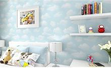 Blue Sky And White Clouds Non-woven Wallpaper, Cartoon Boy Bedroom, Blue Green Wallpaper, Clouds, Clouds Lovely значок swami clouds blue purple