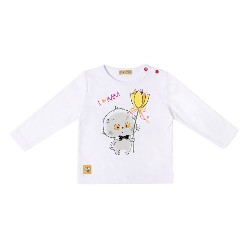 Basik Kids long sleeve T shirt white long sleeve cute cat print crop t shirt