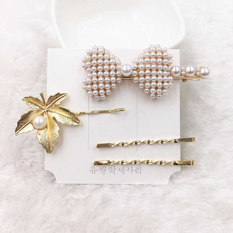 Fashion 2-4pcs/set Pearl Metal Hair Clip for Women Elegant Korean Design Snap Barrette Stick Hairpin Hair Styling Accessories
