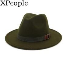 XPeople Women Belt Buckle Fedora Hat Women Wide Brim Warm Wool Cap Retro Style Belt Panama Hat Christmas Gift