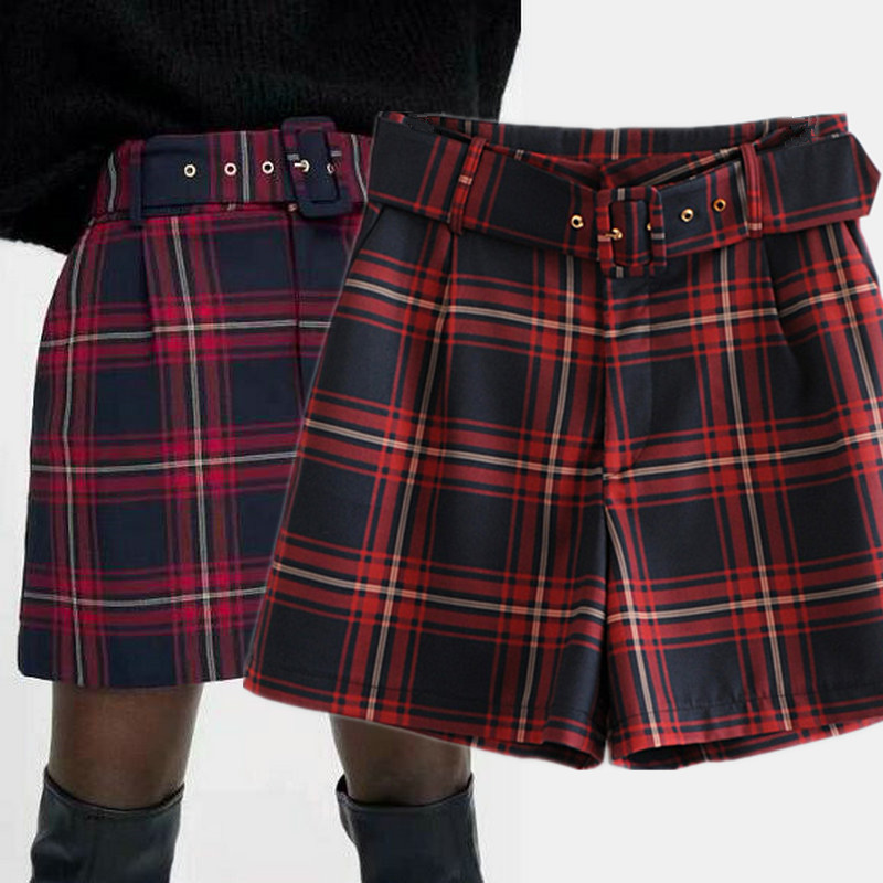 red checkered shorts
