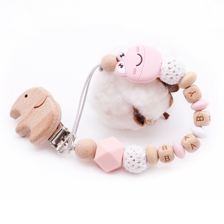 New DIY Baby Pacifier Chain Can Be Customized Name Cartoon Cute Mini Smile Frog Plus Beech Elephant Clip Toys Pacifier holder
