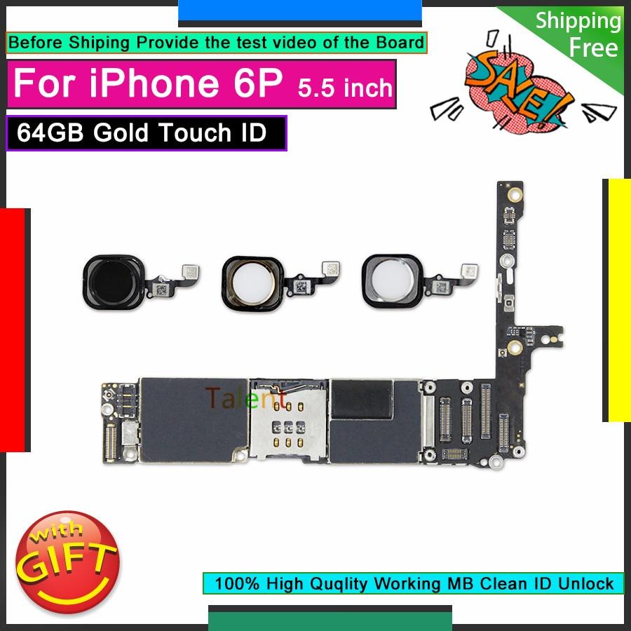 Para IPhone 6 P 6 Plus placa base 64 GB negro plata oro Touch ID desbloqueado desmontaje placa base buena lógica de funcionamiento placa de prueba