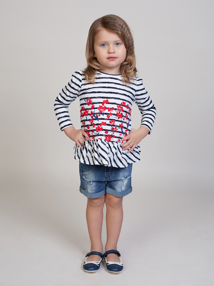 [Available with 10.11] denim shorts for girls knot back striped top with shorts