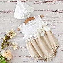 Moda bebê meninas rendas algodão macacão chapéu para recém nascidos crianças infantil conjunto de roupas 3m 12m 18m princesa sem mangas aniversário rampers
