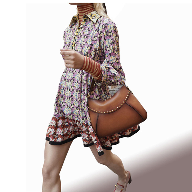Women Dresses Runway Autumn Dress 2018 Retro Full Sleeves Flora Print High Waist Mini Dress Womens Casual Wear Clothing
