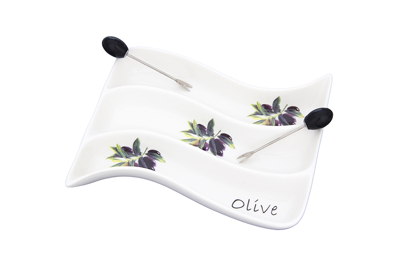 Available from 10.11 The Olive Wave partitioned dish Elan Gallery 101310 hot dish