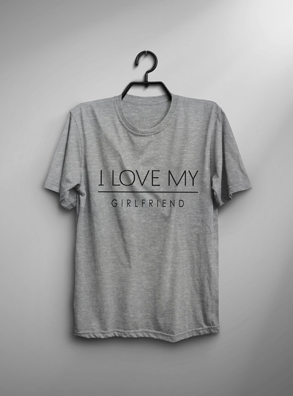 I love my girlfriend gift for her graphic tee for teen clothes valentines day gift tshirts-C851 image