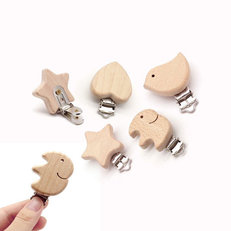 5pcs Cute Shape Beech Wood Pacifier Clip Small Elephant Star Heart-shaped Bird Baby DIY Preferred Nipple Chain Accessories
