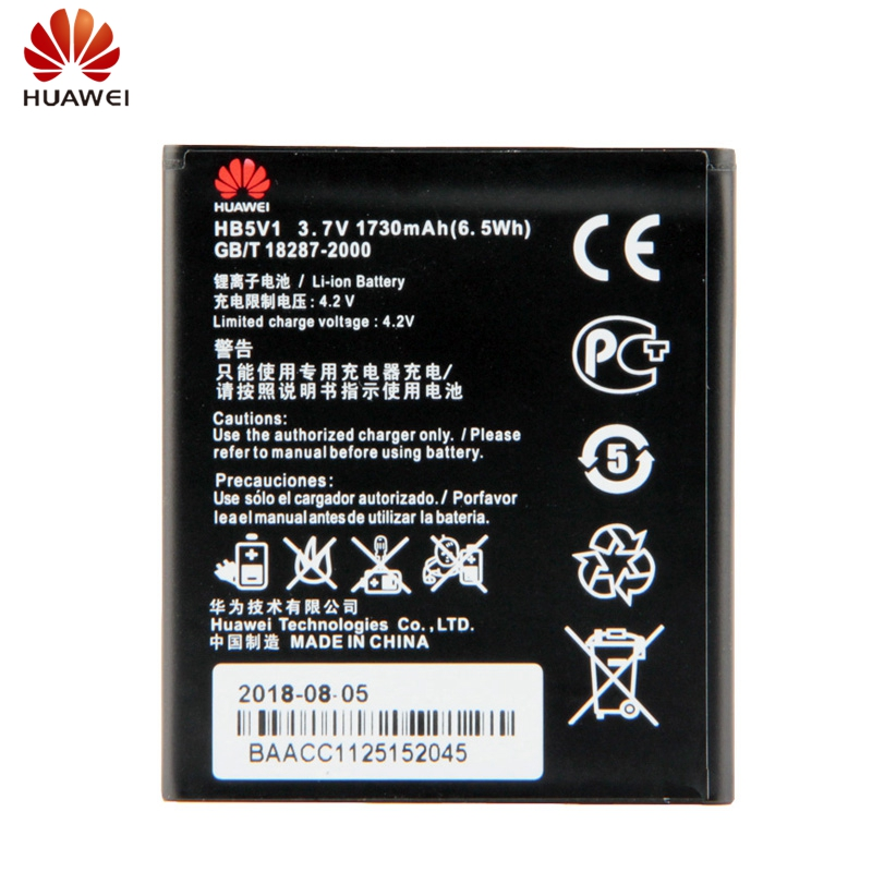 HuaWei Original Battery HB5V1 For Huawei Y300 Y300C Y511 Y500 T8833 HB5V1 Wifi Router Genuine Replacement Battery 1730mAh in Mobile Phone Batteries from Cellphones Telecommunications