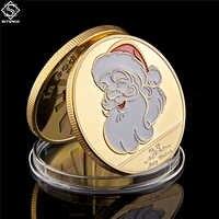 2019 Buon Natale Pupazzo di Neve e Cervi Oro Token Moneta Da Collezione Regali Decorativi