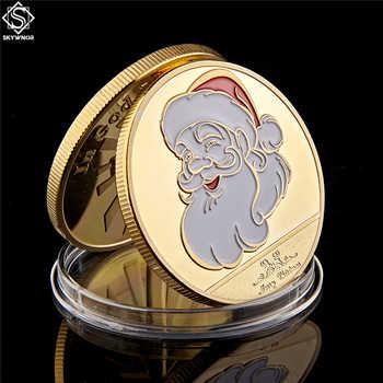 2019 Feliz Navidad muñeco de nieve y ciervo oro Token colección de monedas regalos decorativos