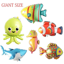 6pcs Sea World Fish Foil Balloons Large Shark Seahorse Balls Birthday Party Decorations Kids Childrens Decor